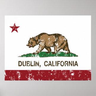 Bandera Dublín del estado de California Posters