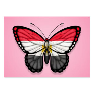 Bandera egipcia de la mariposa en rosa tarjetas personales