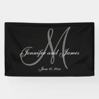 Bandera elegante del boda del monograma de M