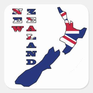 Bandera en el mapa Nueva Zelanda Pegatina Cuadradas Personalizadas