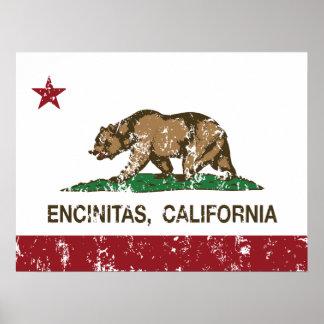 Bandera Encinitas del estado de California Poster