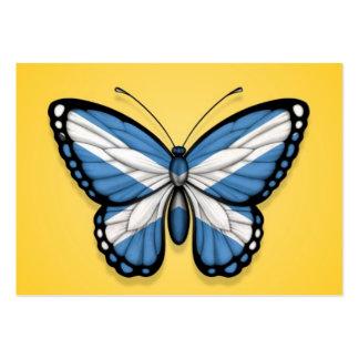 Bandera escocesa de la mariposa en amarillo plantillas de tarjeta de negocio