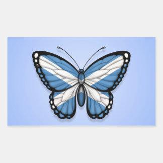 Bandera escocesa de la mariposa en azul rectangular pegatina