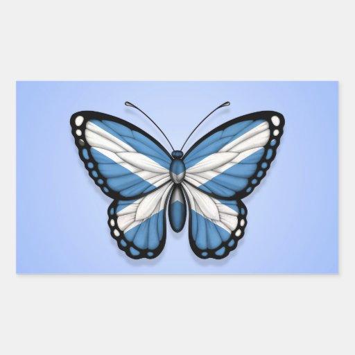 Bandera escocesa de la mariposa en azul rectangular pegatinas