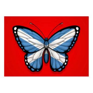 Bandera escocesa de la mariposa en rojo tarjetas de visita