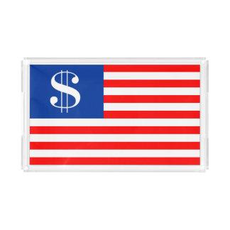 bandera Estados Unidos u del símbolo del dólar del Bandeja Acrílica