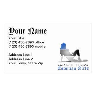 Bandera estonia de la silueta del chica tarjetas de visita