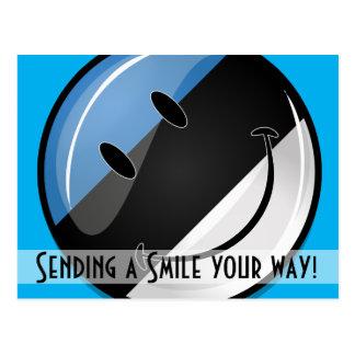 Bandera estonia sonriente postal