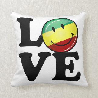 Bandera feliz de Rasta del amor de Rastafarian Cojin