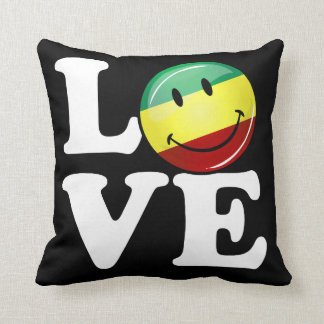 Bandera feliz de Rasta del amor de Rastafarian Cojín Decorativo