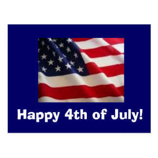 ¡bandera, feliz el 4 de julio! postal