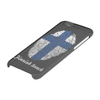 Bandera finlandesa de la huella dactilar del tacto funda transparente para iPhone 6/6s