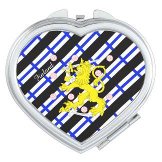 Bandera finlandesa de las rayas espejos de viaje