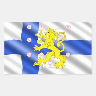 Bandera finlandesa pegatina rectangular