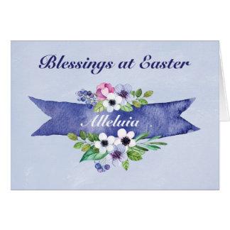 Bandera floral de la acuarela de Pascua, religiosa Tarjeta De Felicitación