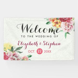 Bandera floral del boda de la acuarela elegante