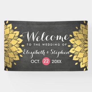 Bandera floral elegante del boda de la pizarra del