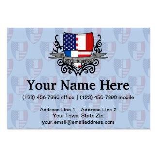 Bandera Francés-Americana del escudo Tarjetas De Visita Grandes