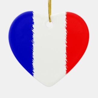 Bandera francesa adorno de cerámica en forma de corazón
