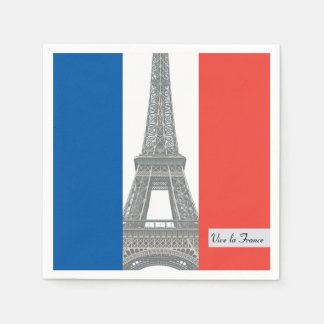 Bandera francesa, la Francia, fiesta de Vive del Servilletas De Papel