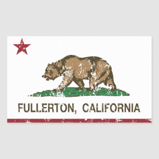 Bandera Fullerton del estado de California Pegatina Rectangular