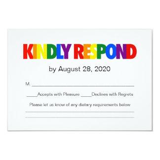Bandera gay del arco iris del menú el | del boda invitación 8,9 x 12,7 cm