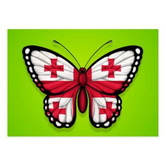 Bandera georgiana de la mariposa en verde tarjeta personal