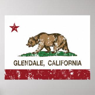 Bandera Glendale del estado de California Póster