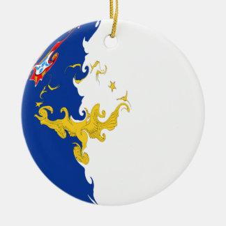 Bandera Gnarly de Azores Adorno Navideño Redondo De Cerámica