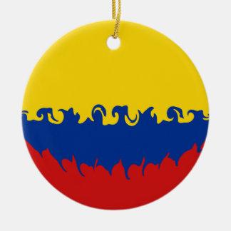 Bandera Gnarly de Colombia Adorno Navideño Redondo De Cerámica