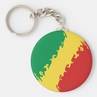 Bandera Gnarly de Congo-Brazzaville Llavero Redondo Tipo Chapa
