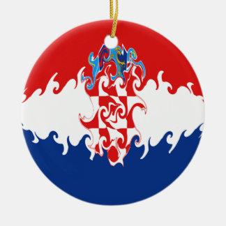Bandera Gnarly de Croacia Adorno Navideño Redondo De Cerámica