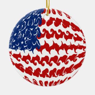 Bandera Gnarly de Estados Unidos Adorno Navideño Redondo De Cerámica