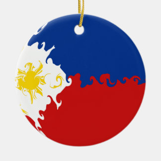 Bandera Gnarly de Filipinas Adorno Navideño Redondo De Cerámica