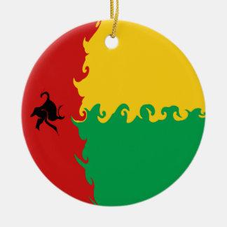 Bandera Gnarly de Guinea-Bissau Adorno Navideño Redondo De Cerámica