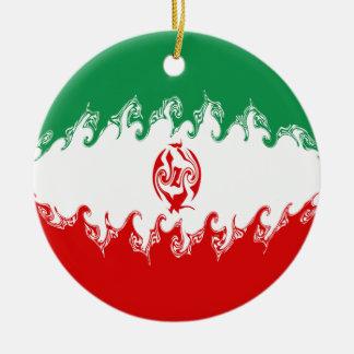 Bandera Gnarly de Irán Adorno Navideño Redondo De Cerámica