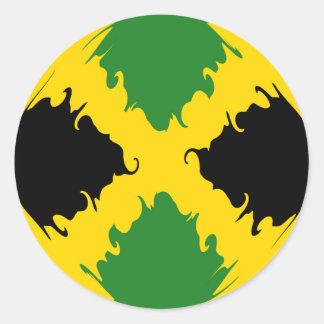Bandera Gnarly de Jamaica Pegatina Redonda