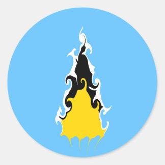 Bandera Gnarly de la Santa Lucía Etiquetas Redondas