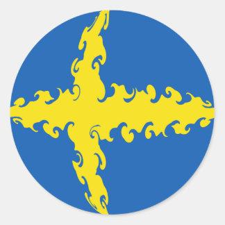 Bandera Gnarly de Suecia Pegatina Redonda