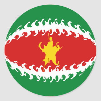 Bandera Gnarly de Suriname Pegatina Redonda
