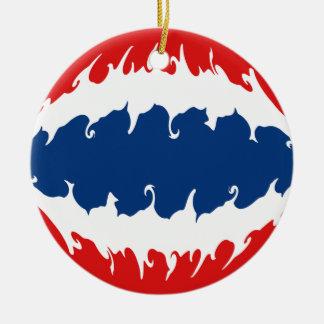 Bandera Gnarly de Tailandia Adorno Navideño Redondo De Cerámica