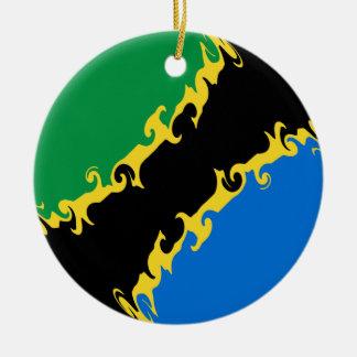 Bandera Gnarly de Tanzania Ornamentos De Navidad