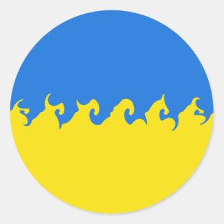 Bandera Gnarly de Ucrania Etiqueta Redonda