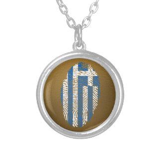 Bandera griega de la huella dactilar del tacto collar plateado