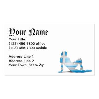 Bandera griega de la silueta del chica tarjetas de visita