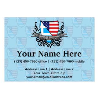 Bandera Griego-Americana del escudo Tarjetas De Visita Grandes