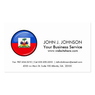 Bandera haitiana redonda brillante tarjetas de visita