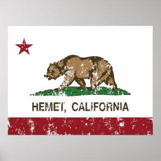 Bandera Hemet del estado de California Póster