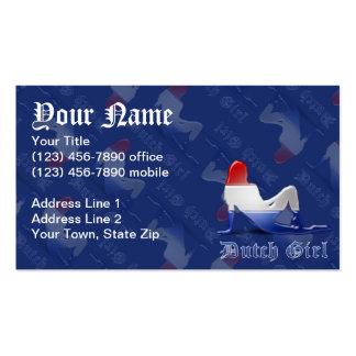 Bandera holandesa de la silueta del chica tarjetas de visita