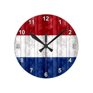 Bandera holandesa de madera reloj redondo mediano